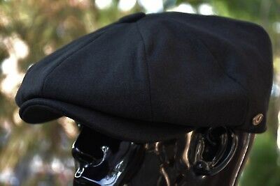 Mens 100% Wool Newsboy Cap, Driving Cabbie Applejack, Stylish Golf Hat Ns1595Blk