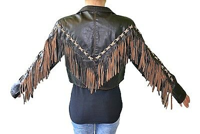 Made in Italy Vtg 90s Womens Leather Tassel Casual Fashion Crop Jacket sz M J66