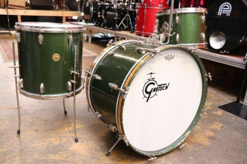 Vintage Rare 1950s Gretsch Round Badge Cadi Green Nitron Birdland Drum Set Kit