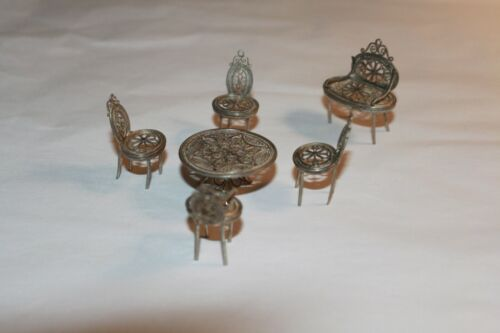 6 Piece Vintage Miniatures  European Silver Miniature Table and Chairs Set