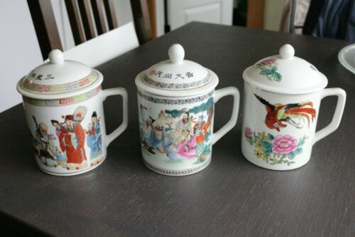 Set of 3 Vintage Porcelain Hand Painted Tea Cup Mug With Lid China Gods Floral