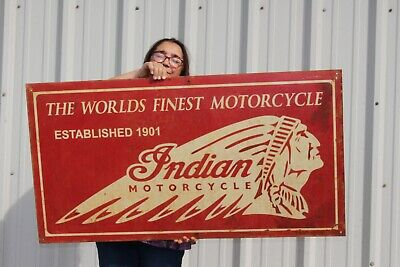 "Large Vintage Indian World's Finest Motorcycle 45"" Metal Sign"