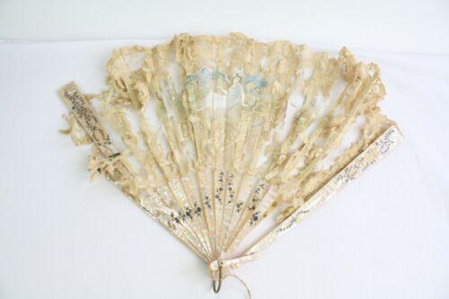 Vintage Antique Hand Painted Lace Hand Held Fan Celluloid Sticks
