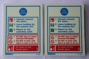 10 x  (5425D) Jalite Glow in the Dark Fire Action Notice sign