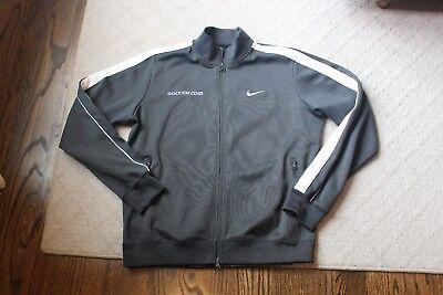 Mens Nike Gray White Stripe Soccer  Com Full Front Zip Track Jacket Large Thick