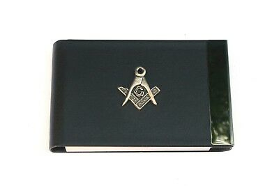 Masonic Black Pu And Metal Business Or Credit Card Holder Masonic Gift 230