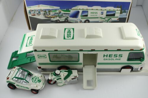 Hess 1998 Recreation Van with Dune Buggy and Motorcycle With Box. Displayed Only