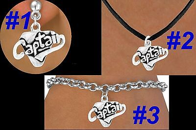 Charm Silver Sports Jewelry Band - CAPTAIN Leader Team Sport School Football Cheer Baseball Marching Band Jewelry