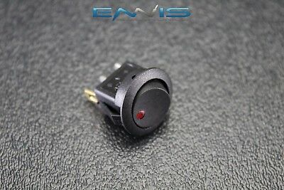 Round Rocker Switch 34 Mount Hole 16 Amp 12v 3 Pin Red Led Toggle Ibrrsr