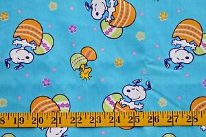PEANUTS SNOOPY EASTER EGG  TOSS  PRINT  100%  COTTON  FABRIC  BY THE 1/2 YARD