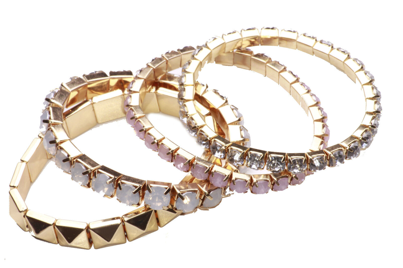 6ff99d3676c GLAM SET OF 4 STRETCHY GOLD SPARKLY BRACELETS PINK/WHITE RHINESTONES (NS31)