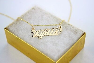 14K Solid Yellow Gold Personalized/Custom Name Pendant with/out Singapore chain 14k Gold Custom Name Pendant
