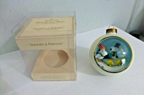 VTG 1980 Hallmark Peanuts Snoopy Woodstock Sledding Panorama Ball Ornament