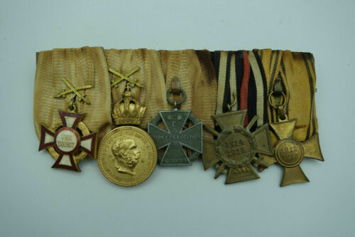 WW1 Austria Hungary 5 place medal bar! Merit Cross Troop Balkan Mobilization KuK