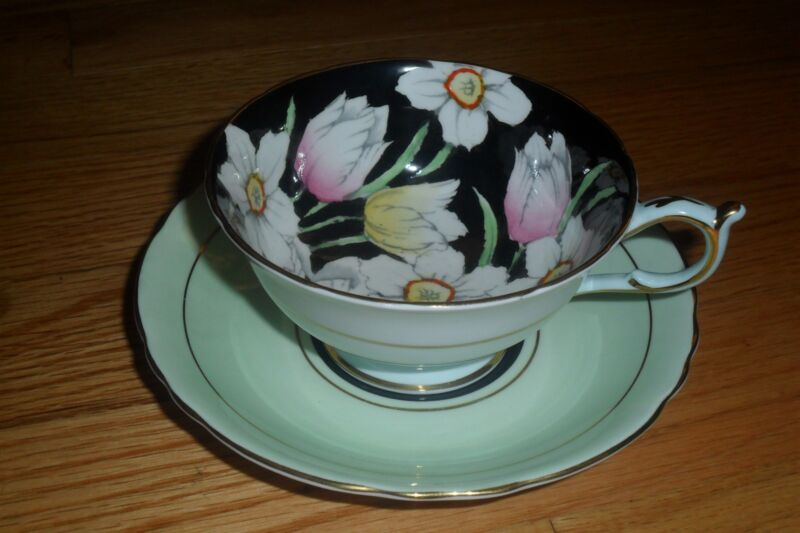 VINTAGE PARAGON TEACUP LIGHT GREEN & BLACK  TEA CUP AND SAUCER DUO