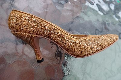 Collectors Miniature shoe - `Just the right shoe`(Golden Stiletto) with box