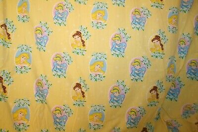 - VTG Disney Princess Toddler Bed Fitted Top Sheet Yellow Belle Cinderella Aurora