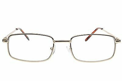 Men Women Fake Non Prescription Glasses Clear Lens Metal Frame Nerd Geek Gold (Fake Non Prescription Glasses)