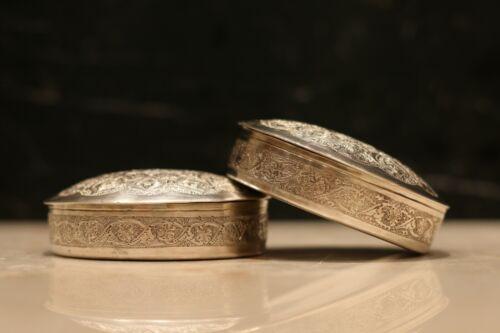 Antique Persian Isfahan silver 84 pair of box handmade QalamZani Qajar