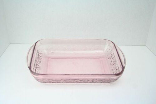 Vintage Pink Glass Floral Casserole Oven Safe Dish