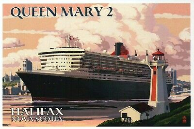Queen Mary 2 Cruise Ship Halifax Nova Scotia Canada Lighthouse - Modern Postcard