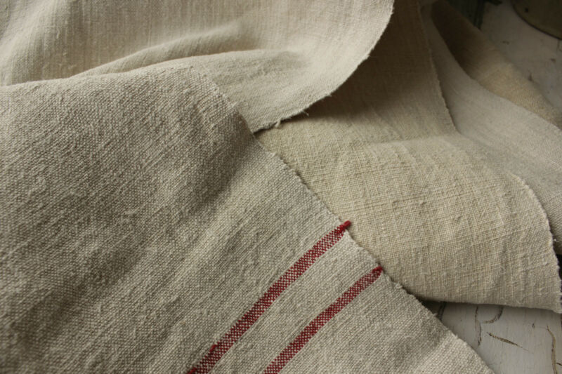 Fabric Vintage homespun European WASHED linen upholstery 4.6 yds X 24.5in WIDE