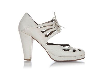 GIRAUDON Vintage Heels 36 US 6 Leather Cream White Cutouts Lace Up Chunky Block  ()
