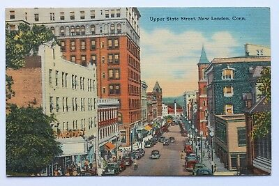 Linen Postcard Upper State Street  New London  Connecticut