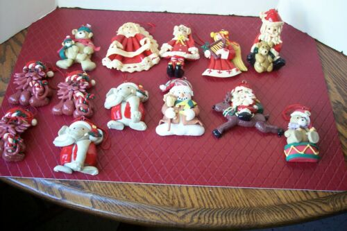 Christmas Ornaments Lot of 13 Clay Dough Lion Santa Snowman Elephant