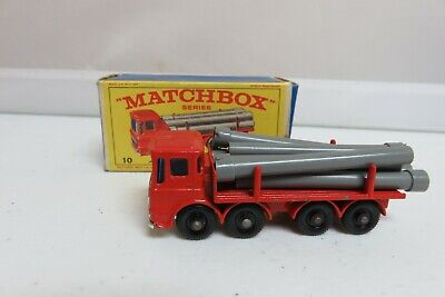 Vintage Lesney Matchbox #10 Pipe Truck Car with Original Box