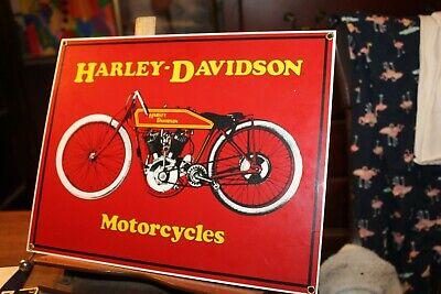 """Vintage Porcelain Enamel Sign Ande Rooney Harley Davidson Motorcycles 11"""" x 14"""""""