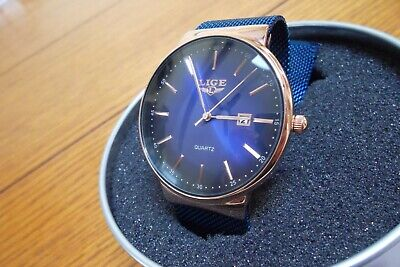 LIGE Rose Gold Watch Waterproof Blue Mesh Band - Date - UNISEX Never Worn