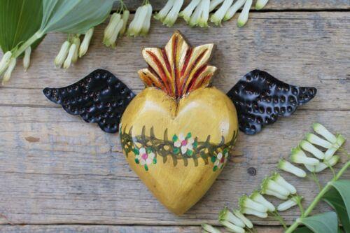 Yellow Color Sacred Heart Tin Wings Handmade Mexico Folk Art Patzcuaro Michoacán