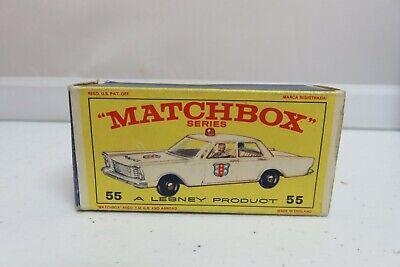 Vtg Lesney Matchbox #55 Ford Galaxie Police Car Empty Original Box Only
