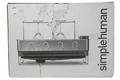 - simplehuman KT1154 Steel Frame Dish Rack with Wine Glass Holder new in box