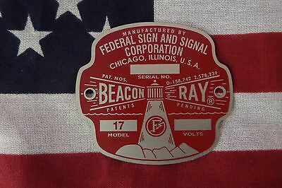 New Federal Sign And Signal Early Model 17 Beacon Ray 12 Volt Replacement Badge