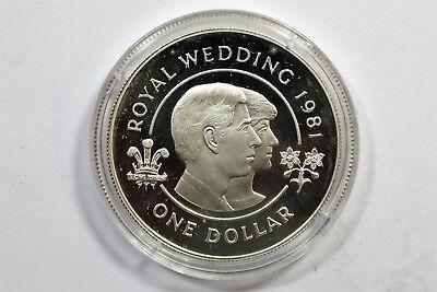 Bermuda - Diana Di Royal Wedding 1981 one Dollar Hochzeit  - Silber PP /S4