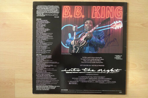 "B.B. King Autogramm signed LP-Cover ""Into the Night- Soundtrack"" Vinyl"