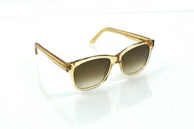 Illesteva Womens Sunglasses Brown Honey Clear Plastic Frames Handmade Italy