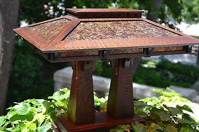 Mission Arts and Crafts Style Quarter Sawn Oak Double Pedestal Table Lamp Mica  Double Pedestal Oak Table