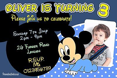 10x Mickey Mouse Baby Birthday Party Invitations for Boys Blue Disney Themed - Birthday Themes For Baby Boy