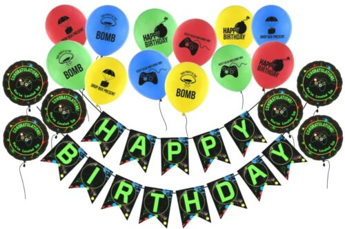 Gaming Birthday Banner + Video Game Controller Balloons + Foil Gaming Balloons