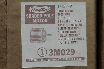 Dayton 3m029 Shaded Pole Electric Motor 115hp 1000rpm 115v Cwse