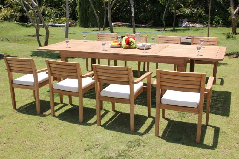 "9 PC TEAK OUTDOOR DINING SET 122"" DOUBLE EXTN RECT TABLE + 8 MONT STACKING CHAIR"