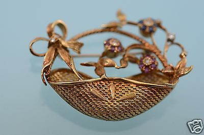 18k Rose Gold Basket w/Sapphie Ruby Diamond Flowers Pin Brooch 13.3g, Excellent
