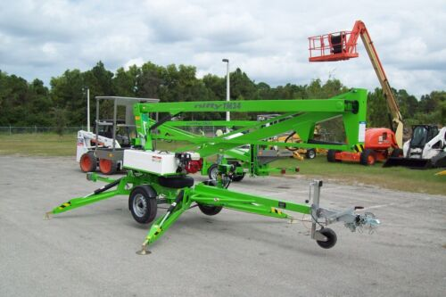 Nifty TM34H 40 Ft Towable Boom Lift w/Hydraulic Outriggers,2019 Battery Powered
