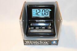 Westclox 47538 Battery Powered Large LCD Display Blue Backlight Alarm Clock