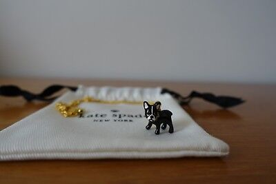 KATE SPADE MA CHÉRIE ANTOINE MINI PENDANT FRENCH DOG NECKLACE AND EARRINGS. NEW