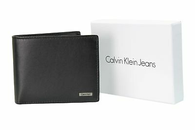 Mens Leather Wallet by Calvin Klein - Rail Logo - Coin Pocket
