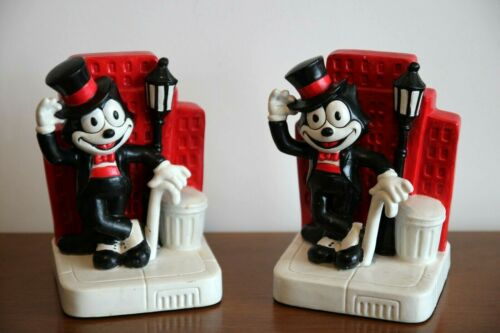Vintage c. 1987 Felix The Cat Comic Book Character Bookends by Enesco